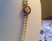 Vintage Crown Trifari Faux Pearl Double Strand Necklace with Rose Cameo