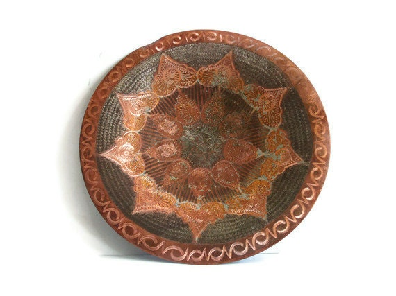 ETCHED COPPER bowl FOOTED Handmade Fish skin pattern Antique serving tray old platter Vintage etching crafts metal dish