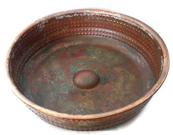 Heavy vintage COPPER Turkish BATH house BOWL thick solid etched metal floral pattern etching Oriental rustic traditional arts and crafts