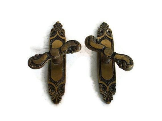 Unique rustic BRASS country carriage house Victorian cotttage WINDOW HANDLE set, pair of two cast metal fasteners