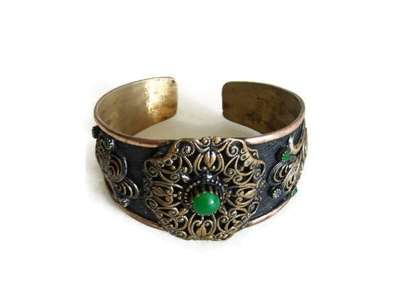 Vintage hand forged & hammered CUFF BANGLE BRACELET copper mixed metal ornate floral pattern wrist accessory - Artisanal metal arts crafts
