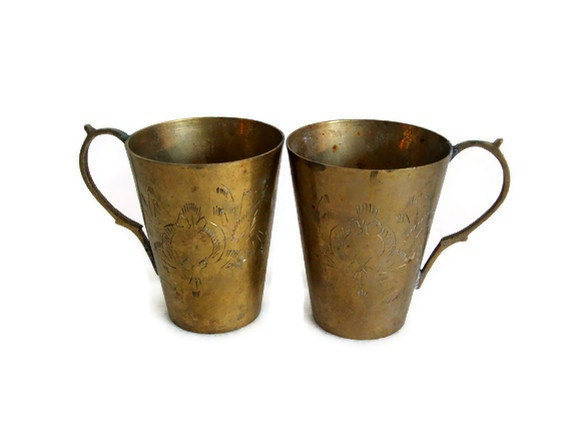 Vintage brass 2 MUGS INDIAN CARVED & handled - Handmade, etched metal tumblers - Exotic coffee cups lot w floral lotus etching