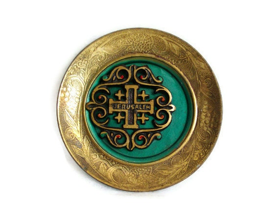 Vintage JUDAICA brass JERUSALEM mini wall hanging PLATE 3D green enameled - Israel collectible souvenir, Jewish religious items wall art