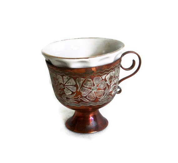 Vintage Etched Copper Cup Holder W Ceramic Insert Cup Floral