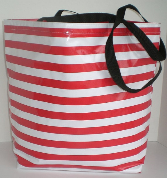 Red Stripe Large With  interior pockets monogrammed oilcloth