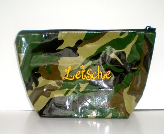 Camo Green XL Cosmetic Bag Monogrammed Oilcloth