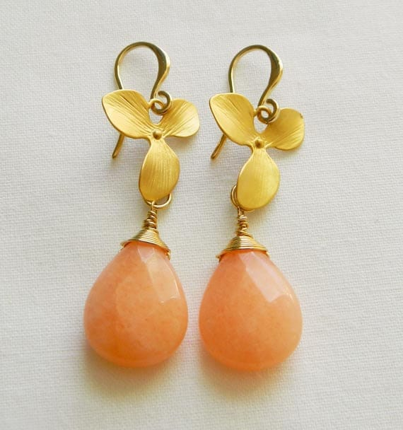Peach Jade  Earrings - Wire Wrapped - Gold Orchid Flower and Peach Jade Earrings - Bridesmaid Gift