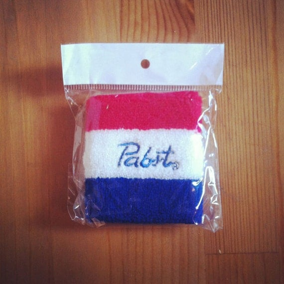 PBR Pabst Blue Ribbon Beer Knit Striped Wristband Blue/White/Red Sweatband 80s Tennis