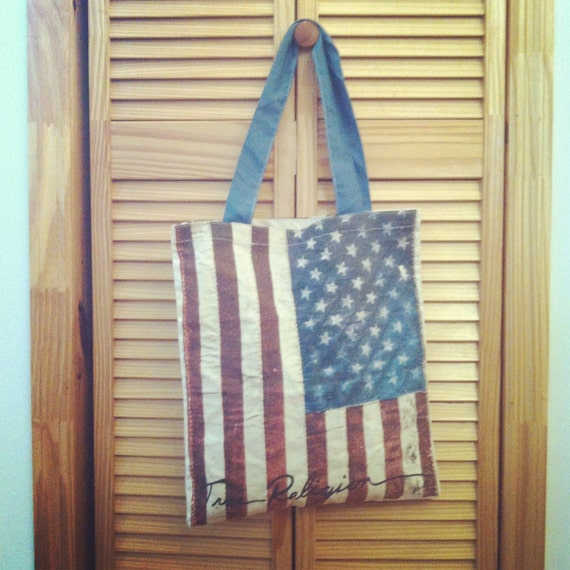 True Religion for The Hole Gallery NYFW 2011 Swag Canvas Tote Bag American Flag Motif