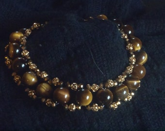 Tigereye Czech crystal and gold filagree beaded bracelet