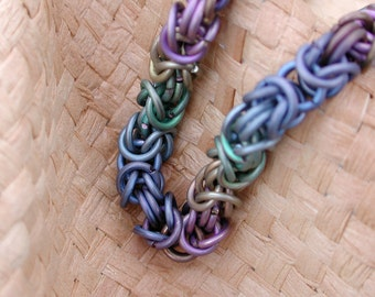 Rainbow chainmail necklace titanium Byzantine chainmaille