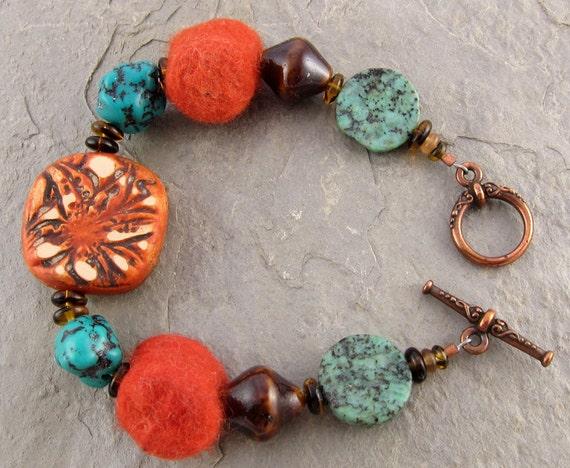 Rustic Orange Bracelet Turquoise Polymer Clay Lily OOAK Felt Ceramic