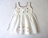 Boho girls vintage summer dress, 3T to 4T. Handmade. White cotton with colorful embroidery.