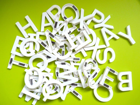 Vintage magnetic letters white helvetica font 2 inches tall for White magnetic letters and numbers