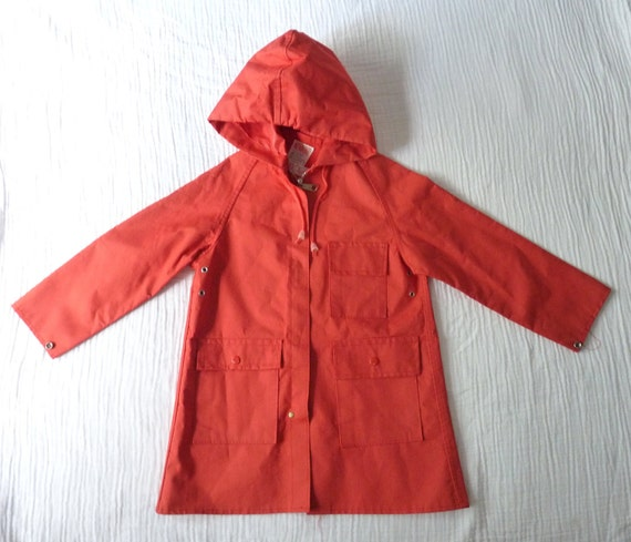 Vintage toddler raincoat, 3T. Poppy red with silver zipper and rivets. Classic