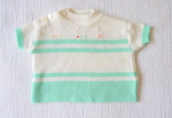 Vintage newborn baby sweater, mint green and white with embroidered fish with neon orange eyes. 0 to 3 months.