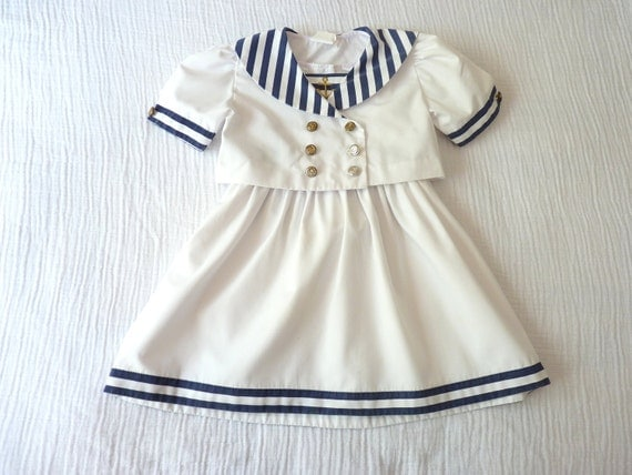 Vintage girls sailor nautical outfit, 3T. Dress and short-sleeve jacket. Navy blue and white stripes. Metallic gold anchor embroidery