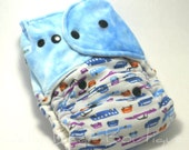 Blue Retro Cars One Size Fitted Diaper