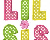 Instant Download Big sister and Little sister Applique Machine Embroidery Design NO:1138