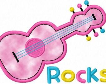 Instant Download Guitar Rock Applique Machine Embroidery Design NO:1117