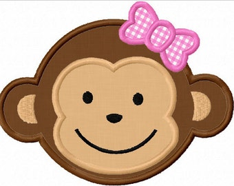Instant Download Monkey Boy And monkey Girl Applique Machine Embroidery Design NO:1129