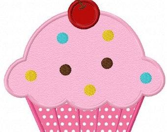 Instant Download Cupcake Birthday  Cake Applique Machine Embroidery Design NO:1133