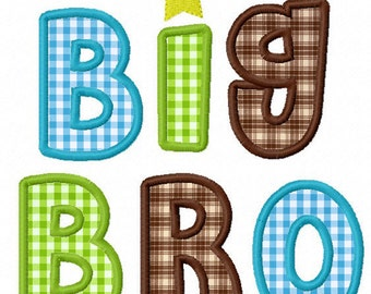 Instant Download Big brother and Little brother Applique Machine Embroidery Design NO:1137