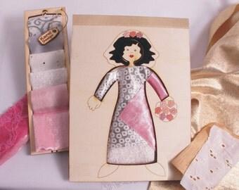Bride, Wood Doll, Dress Up, Kit, Wood and Fabric, Fashion Doll, Creativity Kit