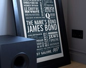 The Name's... James Bond Print in Midnight Blue. Available in A2 or A3.