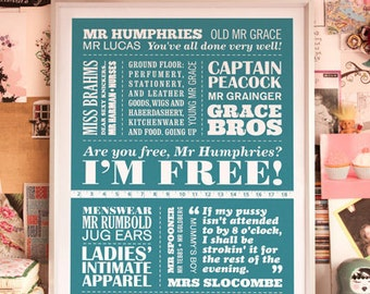 I'M FREE - Are You Being Served Typographic Print in Teal. Available in A2 or A3.