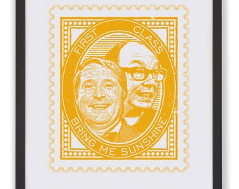 BRING ME SUNSHINE - 50 x 40cm Morecambe & Wise Stamp Print in Custard Yellow
