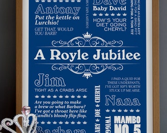 A Royle Jubilee - Royle Family Typographic Print in Royal Blue. Available in A3 or A2