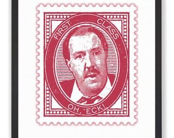 OH, 'ECK - 50 x 40cm Rene Artois Allo, Allo Stamp Print in Deep Red