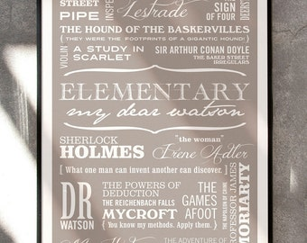 MY DEAR WATSON - Sherlock Holmes Typographic Print in Taupe. Available in A2 or A3.