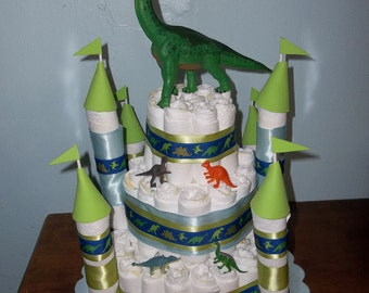 Dinosaur Castle Diaper Cake