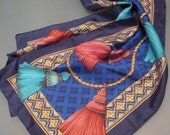 Vintage Tassel Scarf, Equestrian Scarf, Spring Scarf, Blue Scarf, Navy Scarf
