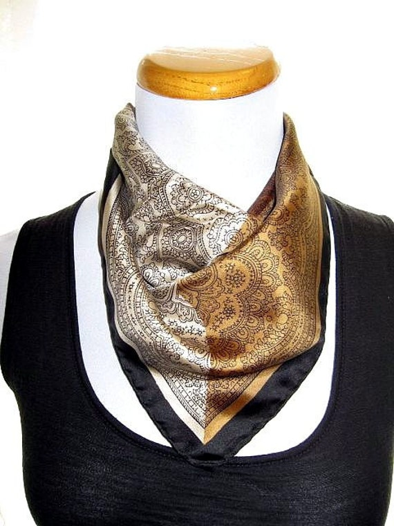 Vintage Silk Scarf, Silk Square