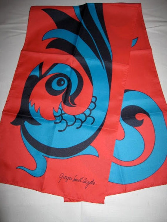 Giorgio Sant Angelo Scarf, Vintage Scarf, Fall Scarf Designer Scarf, Womens Scarves, Red Scarf