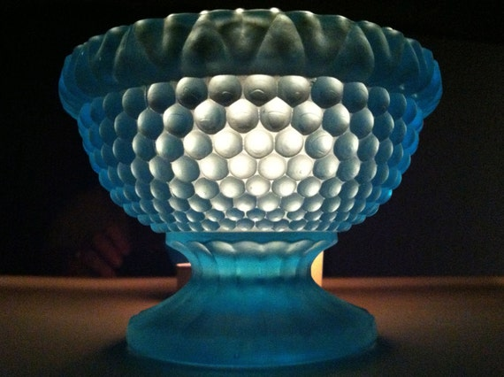 Vintage Blue Glass Hobnail Votive