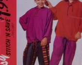 "Boy's and Girl's McCall's 6645 UNCUT Easy ""Stitch 'N Save"" Pattern for a Sweatshirt and Pants in Sizes Small / Medium 7, 8-10"