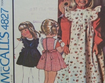 """Vintage 1975 McCall's 4827 """"Carefree Patterns"""" for a Toddler's Pinafore-Jumper and Blouse in Size 1T"""