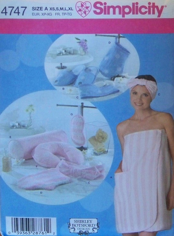 """Simplicity 4747 """"Shirley Botsford Designs"""" Pattern for Misses' Bath Wrap and Accessories in Sizes XS, S, M, L, and XL"""
