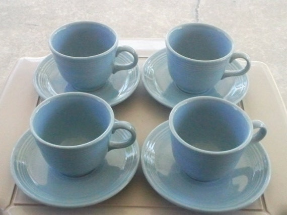 Vintage Fiestaware Periwinkle Blue Set of 4  Cups and Saucers