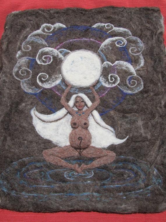 felted Full Moon Goddess wall tapestry