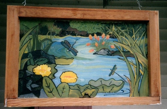 Reclaimed window frame with painting of dragonflies and water for Painting on glass windows with acrylics