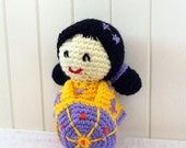 Kokeshi doll, Sunshine - crochet amigurumi doll in yellow, lilac and orange