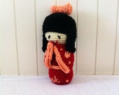 Kokeshi doll, The Nice Naughty - crochet amigurumi doll in red, salmon and black