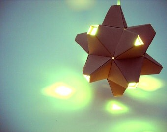 Paper Origami Lamp. Tan and Aqua. 48 sides. (Polyhedra Luminaria Series)