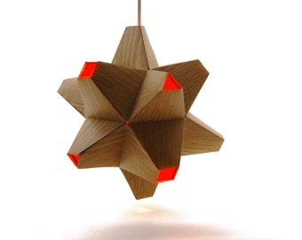 Paper Origami Lamp. Wood Grain and Orange. 48 sides. (Polyhedra Luminaria Series)