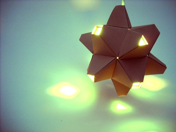 Paper Origami Lamp. Tan and Aqua. 48 sides. (Polyhedra Luminaria Series)